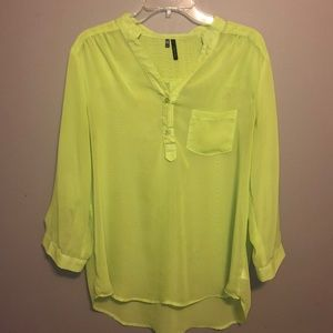 Maurice's lime green sheer top
